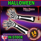 HALLOWEEN FANCY DRESS # LADIES LONG SKELETON GLOVES